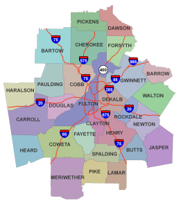 Metro Atlanta County Map 2015